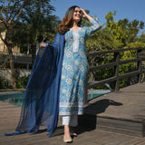 shop  blue cotton suit set with chiffon dupatta