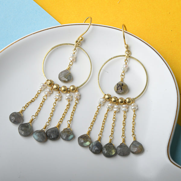 Six Stone Dangle Earrings