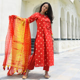 red yellow bandhej suit , buy bandhej print red cotton suit