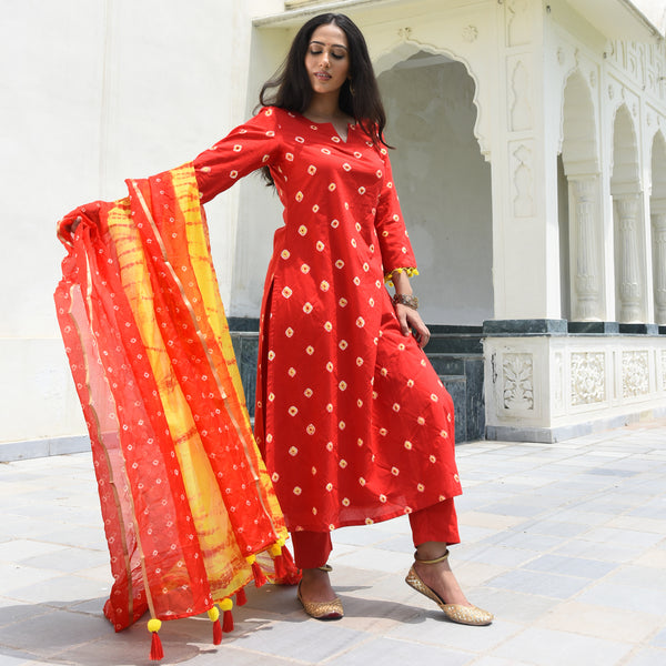 get amazing quality red and yellow cotton suit online for women