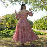 Rosy Pink Floral Cotton Dress