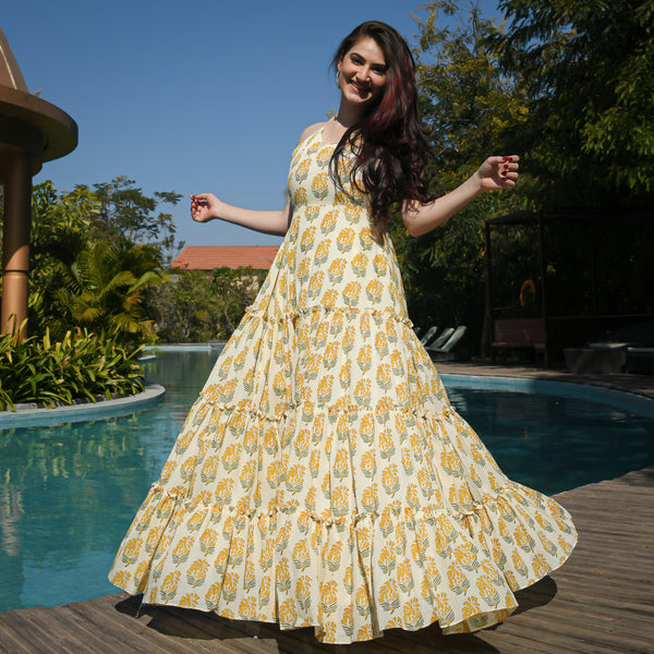 yellow colored cotton dress