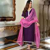 purple color cotton suit with leheriya dupatta