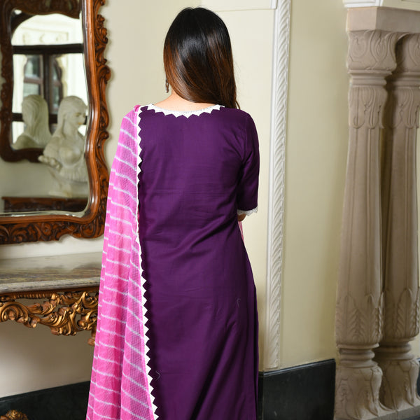 shop purple color cotton suit with doriya duapatta online