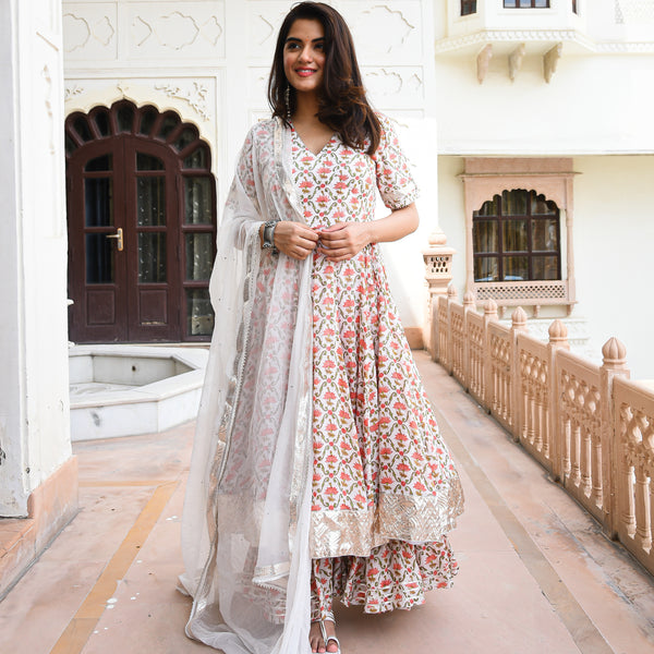 white floral cotton silk suit set