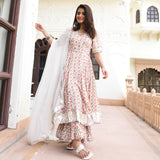 white cotton silk suit set for women