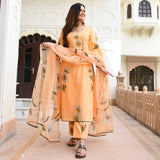 tangerine handpainted cotton suit with organza dupatta