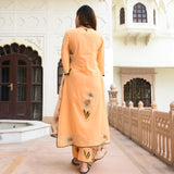 tangerine cotton suit set with organza dupatta at best prices