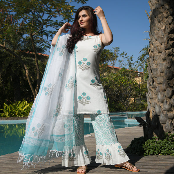 turquoise cotton suit with doriya dupatta