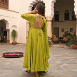 shop amazing quality green embroidered suit set