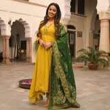 shop amazing quality green and yellow suit set online