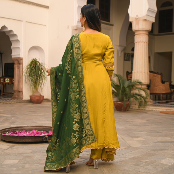 get green and yellow cotton silk suit set online