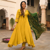green and yellow silk suit set online at best price