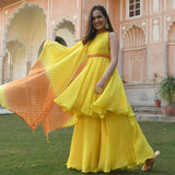 get amazing quality orange yellow embroidered suit set