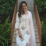 peach and white cotton suit set