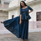 shop blue kurta with pants with fine work,blue kurta with pants  for ladies