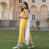 shop yellow and white embroidered modal mulmul suit with chiffon dupatta at best price
