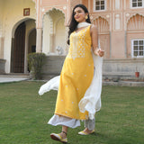 yellow and white embroidered suit set