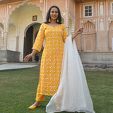 yellow white embroidered suit set