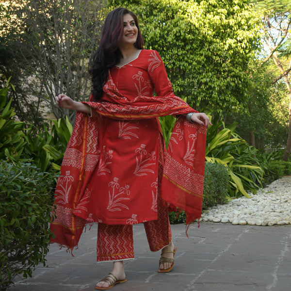 red chanderi suit set
