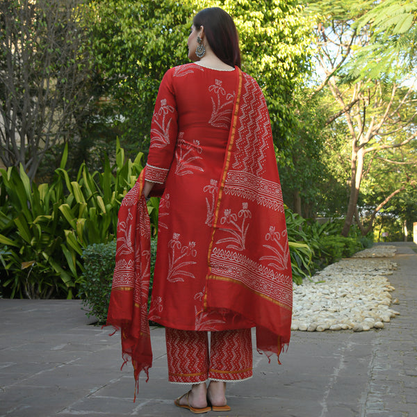 shop red colored chanderi suit set online at best price