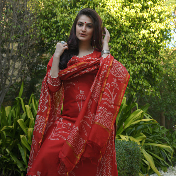 red discharge print chanderi suit set