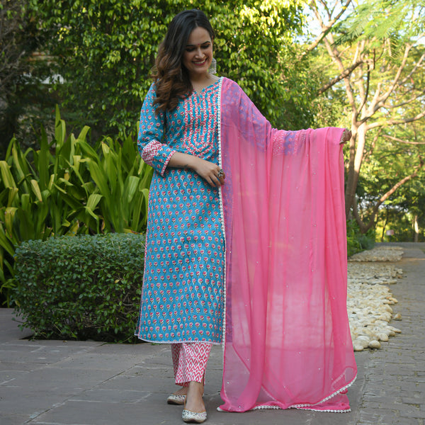 shop turquoise cotton suit set with pink chiffon dupatta at best price