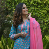 turquoise pink cotton suit set with chiffon dupatta