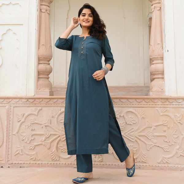 Smoke Green Kurta Set