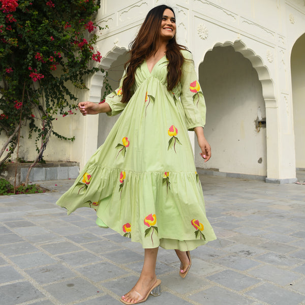 shop lime color handpainted cotton dress online