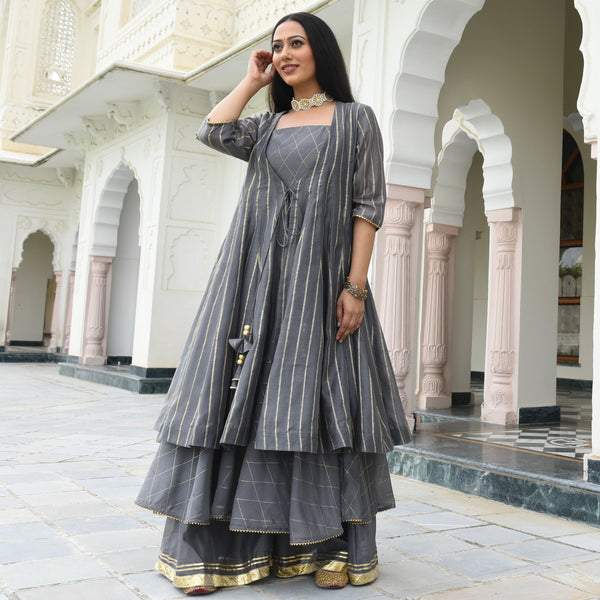 Steel Grey Jacket Kurta Set