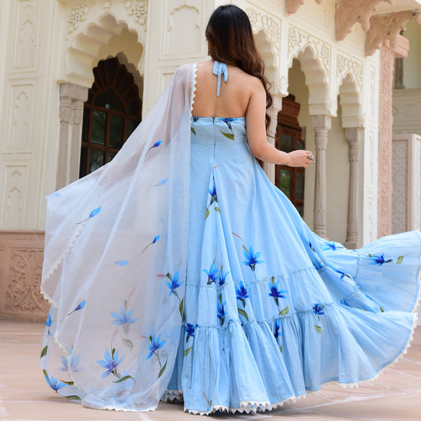 blue colored cotton suit with organza dupatta