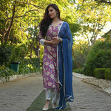 pink floral cotton suit with blue chiffon dupatta
