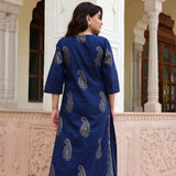 printed cotton blue kurta