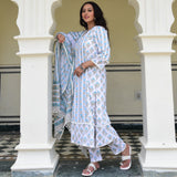 blue white cotton suit set for women