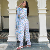 blue white cotton suit set for women online