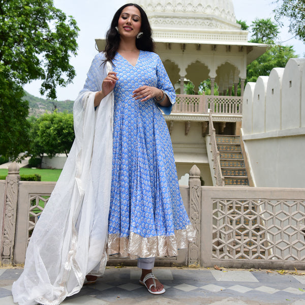 blue white cotton silk suit set
