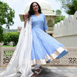blue white cotton silk kurta online at best prices