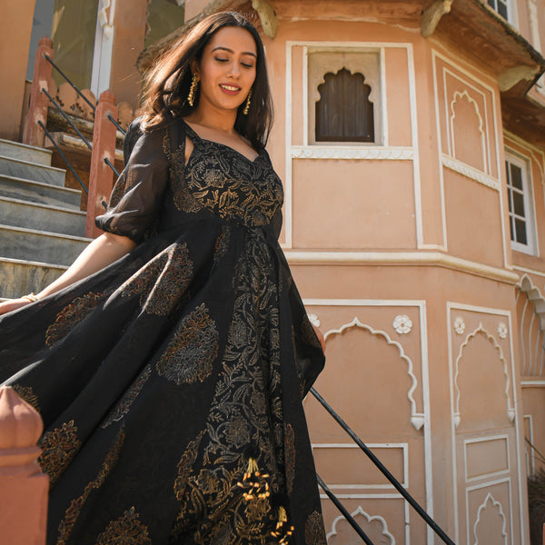 get amazing quality black and golden cotton dress with kota doriya cape online at best prices