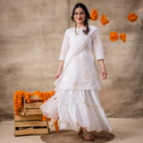 White Sharara With Organza Dupatta