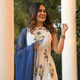 white green suit set with blue dupatta