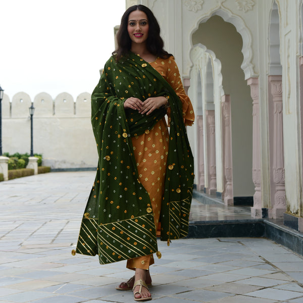 green yellow bandhej suit set
