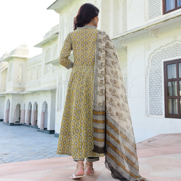 shop handblock printed yellow and black colored cotton suit with doriya dupatta