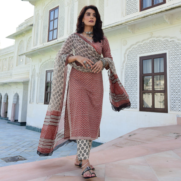 red and black cotton handblock printed suit with doriya dupatta
