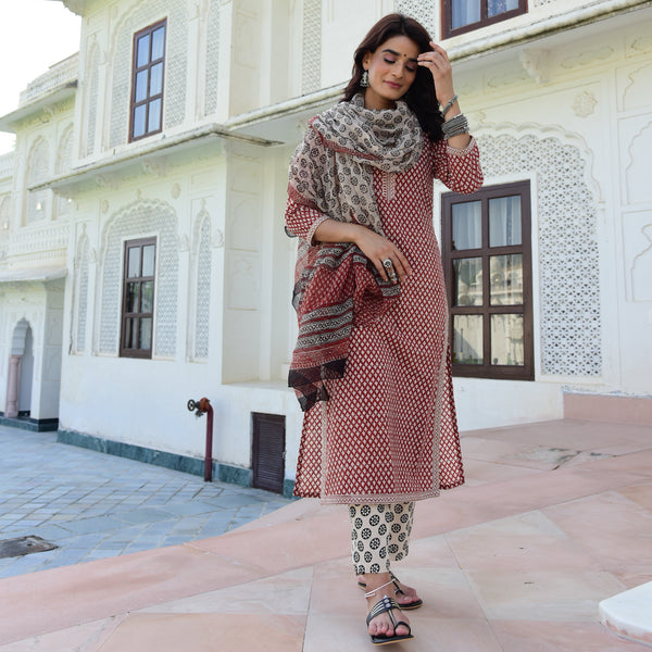 shop cotton suit set with doriya dupatta at best prices