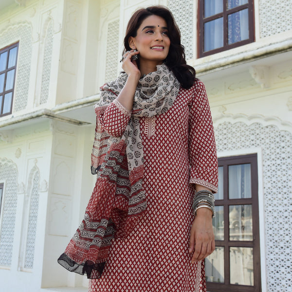 hand block cotton printed suit with doriya dupatta