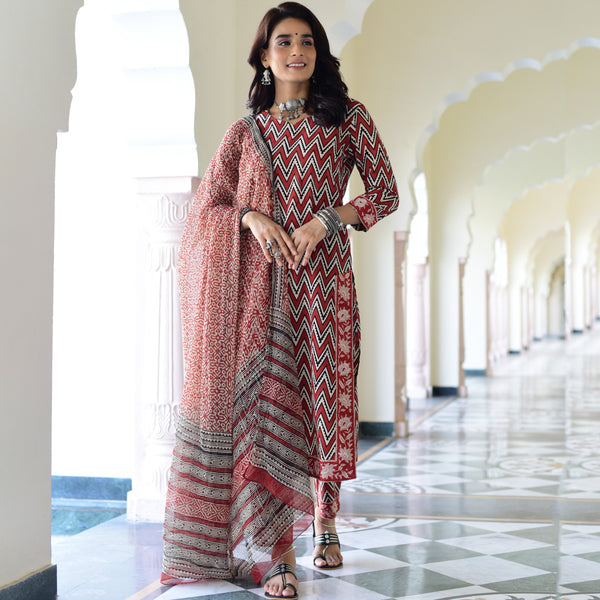 hand block printed cotton suit with chiffon dupatta ,buy cotton suit with pants