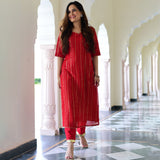 red gorgrette lurex kurta set