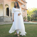 get white georgette suit with chiffon dupatta at best price