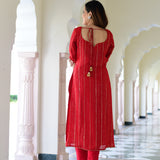 red colored grogrette lurex kurta set for women online